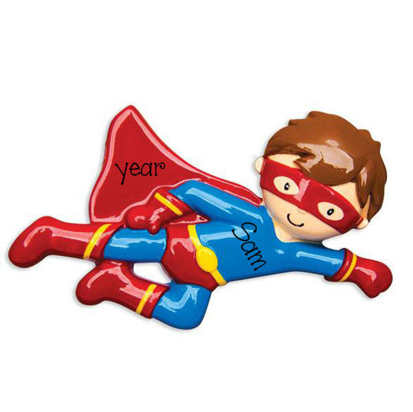 Flying SUPER HERO - Personalize Christmas Ornament