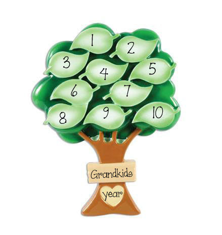 Grand kids up to 10 Tree with Leaves - Personalized Christmas Ornament