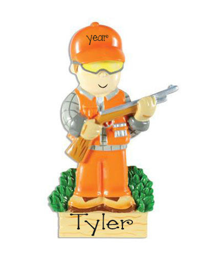 Hunter dressed in Orange, Personalized Christmas Ornament