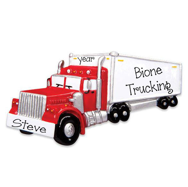 RED SEMI TRUCK - Personalize Ornament