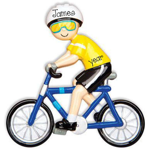 MALE CYCLIST / BICYCLE - Personalized Ornament