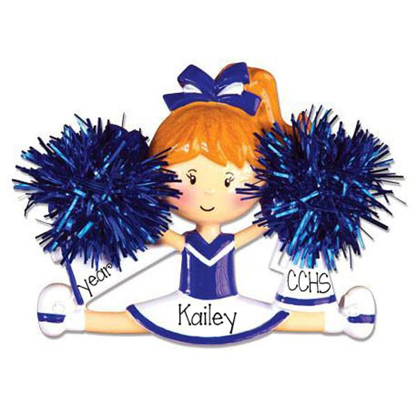 BLUE CHEER w/ POM POMS - Personalize Ornament