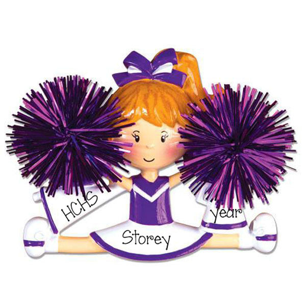 PURPLE CHEER w/ POM POMS - Personalize Ornament