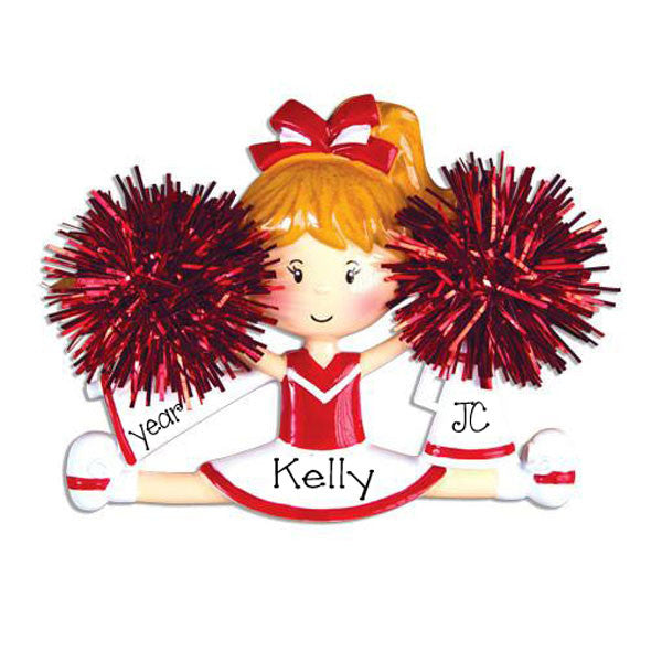 RED CHEER w/ POM POMS - Personalize Ornament