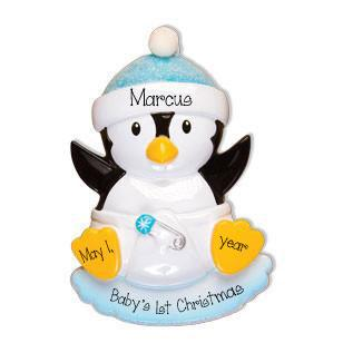 Baby Boy Penguin with a Blue Glitter Hat-Personalized Christmas Ornament