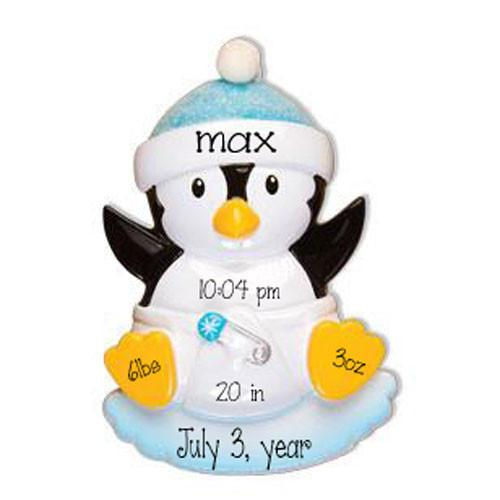 BABY'S 1ST CHRISTMAS penguin/ my personalized ornaments