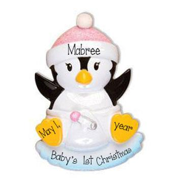 Baby Girl Penguin with a Pink Glitter Hat-Personalized Christmas Ornament