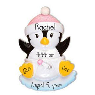 BABY GIRL PENGUIN - Personalized Ornament