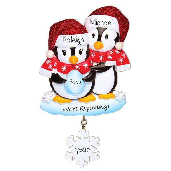 We're Expecting Penguin Couple ~Personalized Ornament