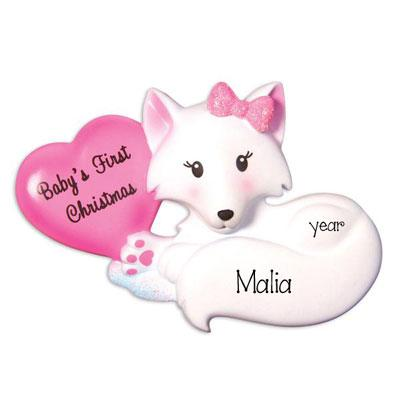 Baby Girl's First Christmas Pink Fox - Personalized Ornament