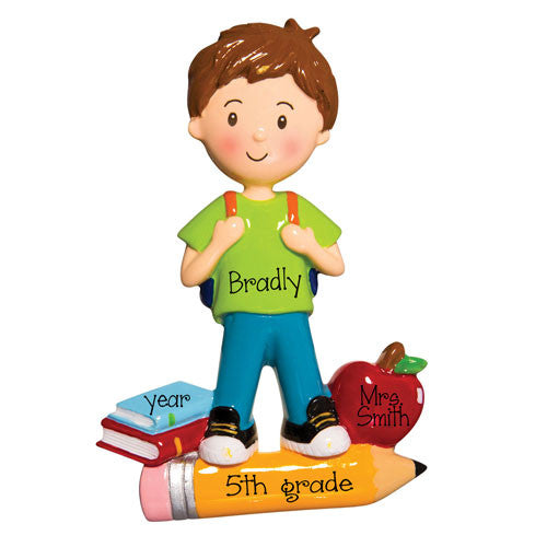 SCHOOL BOY WITH BOOKS, APPLE AND PENCIL / MY PERSONALIZED ORNAMENTS