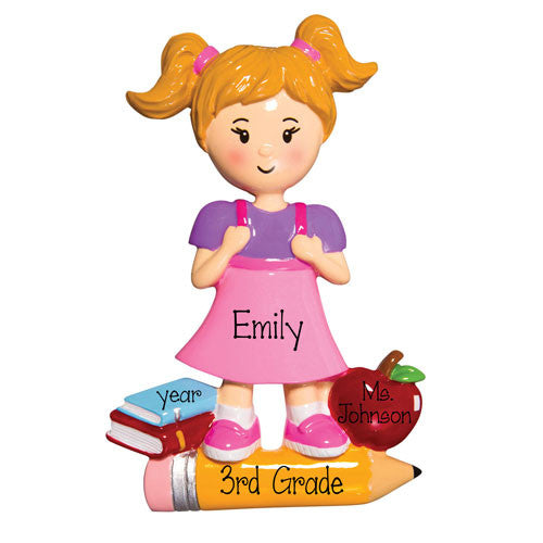 SCHOOL GIRL WITH BOOKS, APPLE AND PENCIL AND PIGTAILS / MY PERSONALIZED ORNAMENTS