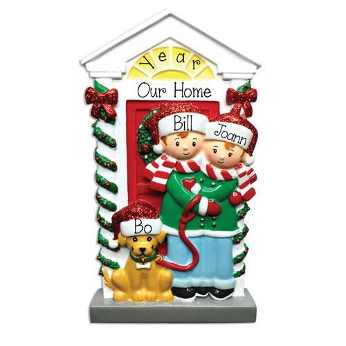 COUPLE w/ DOG - Personalized Ornament