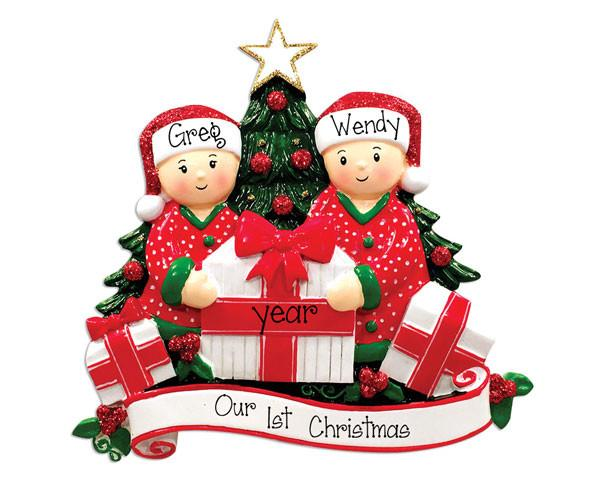 CHRISTMAS MORNING COUPLE - PERSONALIZED ORNAMENT