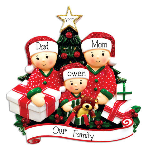 FAMILY of 3 OPENING PRESENTS - Ornament