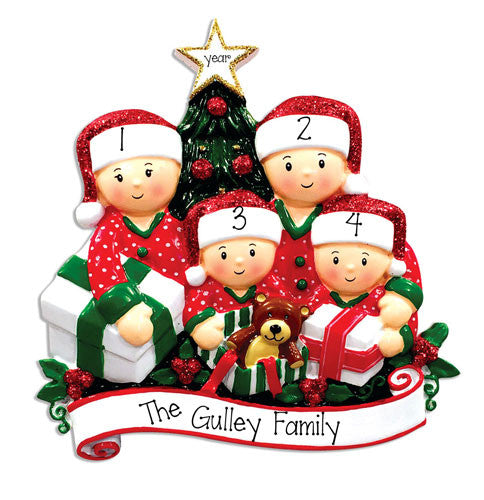 FAMILY OF 5 OPENING PRESENTS ORNAMENT / MY PERSONALIZED ORNAMENT