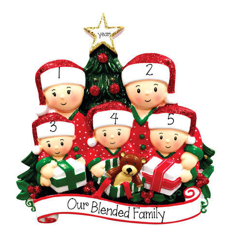 FAMILY OF 5 OPENING PRESENTS - Ornament