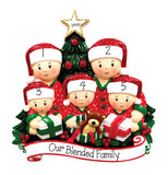 FAMILY OF 5 OPENING PRESENTS ORNAMENT / MY PERSONALIZED ORNAMENTS