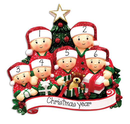 CHRISTMAS MORNING~Family of 6~Personalized Christmas Ornament