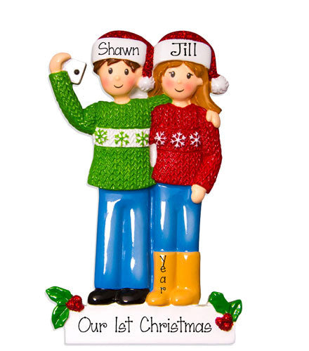 SELFIE COUPLE WITHSANTA HATS / MY PERSONALIZED CHRISTMAS ORNAMENTS