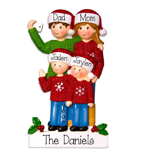 FAMILY OF 4 SELFIE ORNAMENT, MY PERSONALIZED ORNAMENT