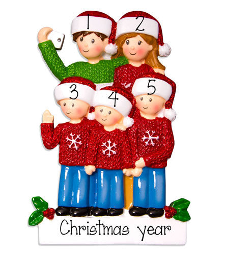 FAMILY OF 5 SELFIE ORNAMENT / MY PERSONALIZED ORNAMENTS