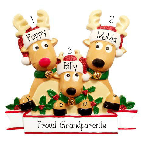 Reindeer Proud New Grandparents~Personalized Christmas Ornament