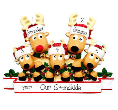 Reindeer Grandparents with 3 Grandkids~Personalized Ornament
