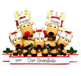 Reindeer Grandparents with 3 Grandkids  - Personalized Christmas Ornament