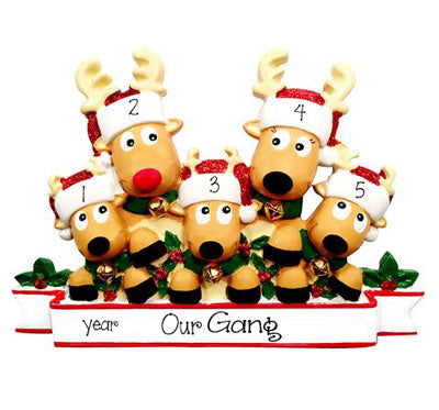 Family of 5 Reindeer~Personalized Christmas Ornament