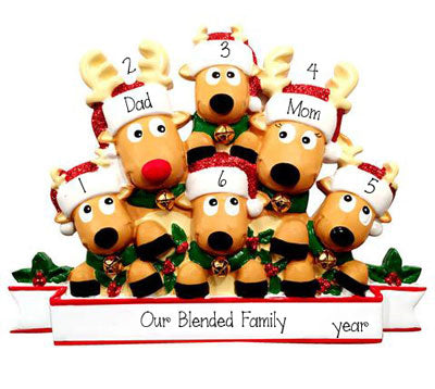 Family of 6 Reindeer~Personalized Christmas Ornament