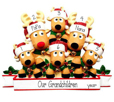 Reindeer Grandparents with 4 Grandkids~Personalized Ornament
