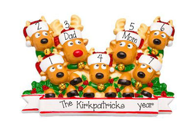 Family of 7 Reindeer ~ Personalized Christmas Ornament