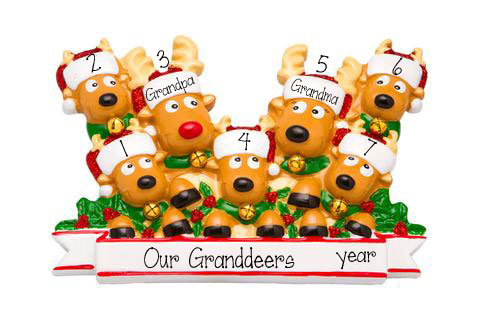 Reindeer Grandparents with 5 Grandkids  - Personalized Christmas Ornament