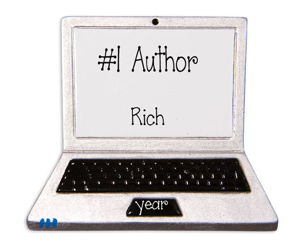 LAP TOP COMPUTER / AUTHOR  - Personalized Ornament