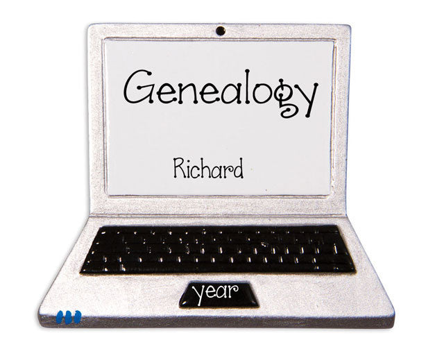 GENEALOGY / LAP TOP COMPUTER  - Personalized Ornament