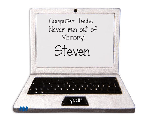 Computer Tech~LAPTOP~Personalized Christmas Ornament