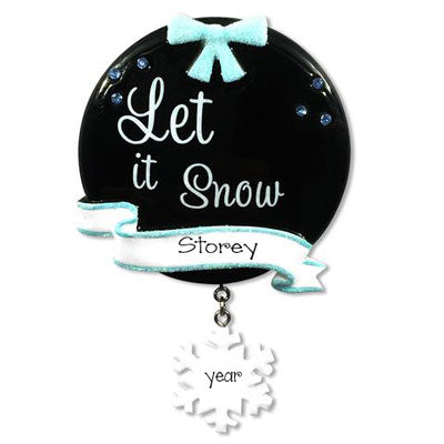 Let it Snow with Blue Glitter Bow ~ Personalized Christmas Ornament