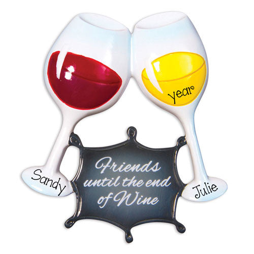 Glass of Wine for 2 Friends~Personalized Christmas Ornament