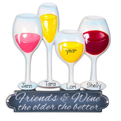 4 FRIENDS WITH WINE GLASSES ORNAMENT / MY PERSONALIZED ORNAMENTS