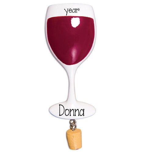 Glass of WINE~Personalized Christmas Ornament