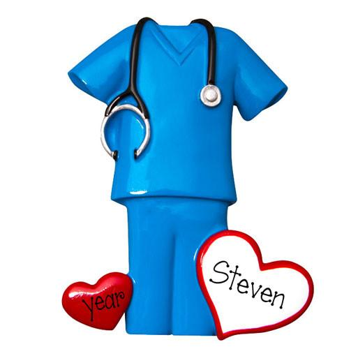 BLUE SCRUBS WITH STETHOSCOPE / MY PERSONALIZED ORNAMENTS