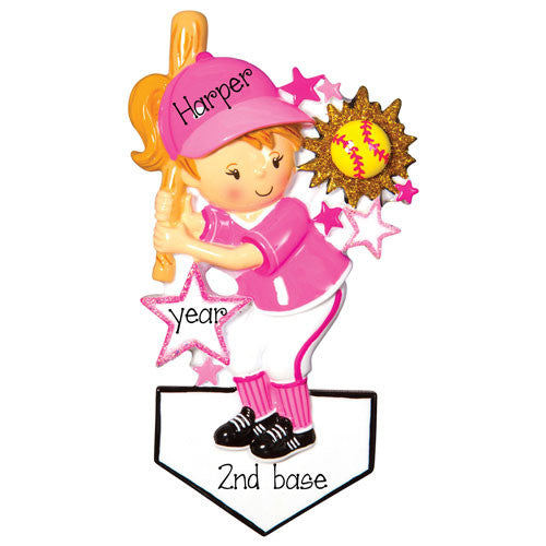 GIRL SOFBALL PLAYER AT BATS / MY PERSONALIZED ORNAMENT