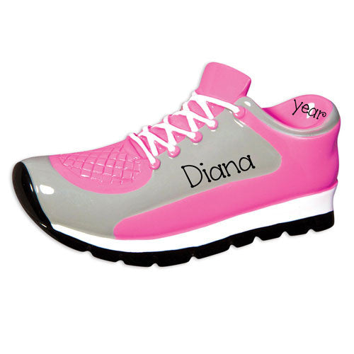PINK AND GRAY RUNNING SHOES / SNEAKERS / MY PERSONALIZED ORNAMENT
