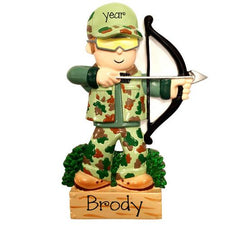 BOW HUNTER IN CAMO / ARCHERY / MY PERSONALIZED ORNAMENTS