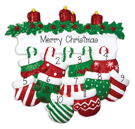 FAMILY OF 11 RED AND GREEN MITTENS / MY PERSONALIZED ORNAMENTS