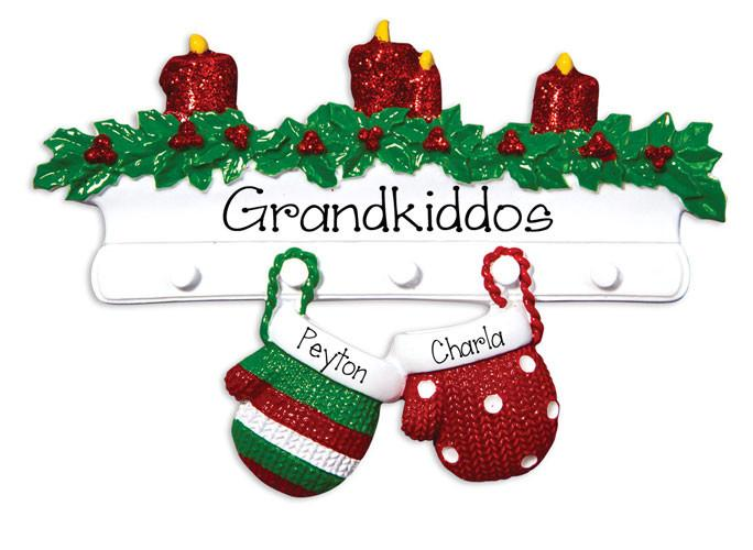 HANGING MITTENS WITH 2 / MY PERSONALIZED ORNAMENTS