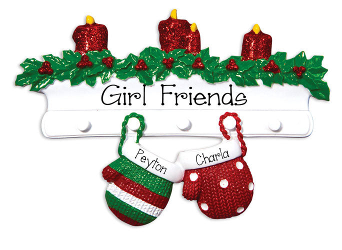Two Friends Mitten~Personalized Christmas Ornament
