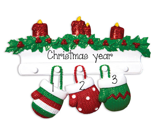Family of 3 MITTENS - Personalized Christmas Ornament