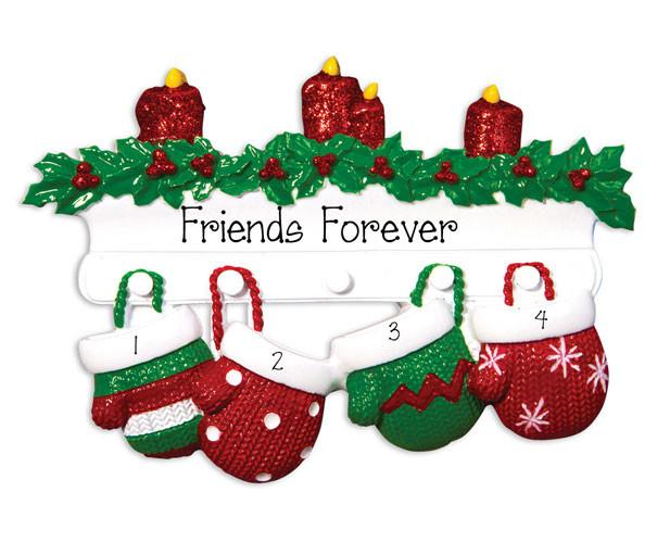 4 FRIENDS RED and GREEN MITTENS - Ornament